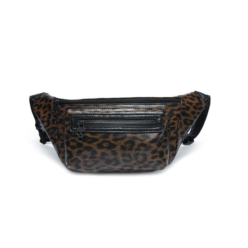Custom Logo Men's Fashion Leopard Waist Bag Personalized Leather Small Chest Bag Single Shoulder Fanny Pack Belt Bags-1.9