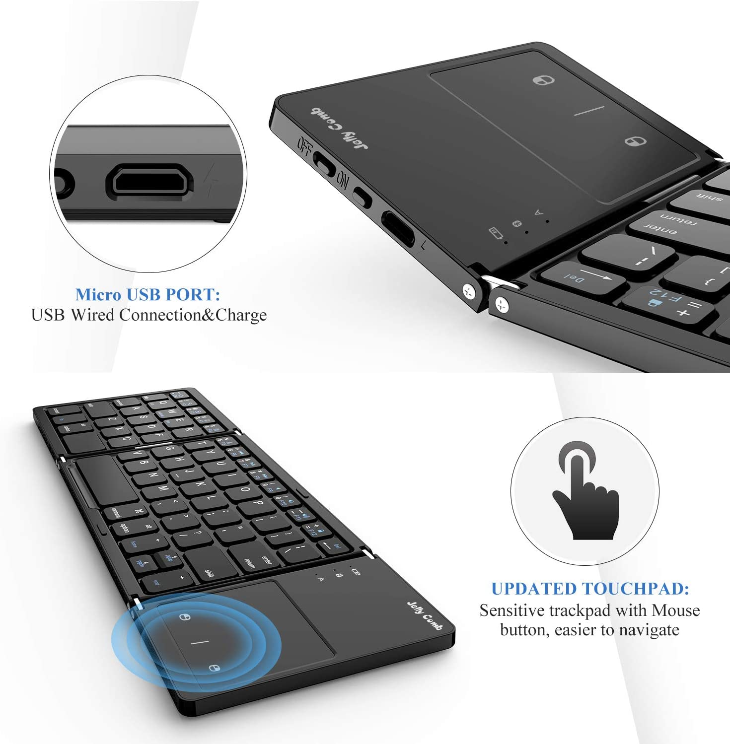 Last Day Off50%(Free shipping)--Foldable Keyboard with Touchpad-Clever Keyboard