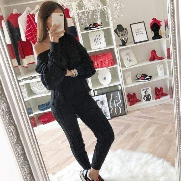 7 Colors 2PCS Women Solid Sweater Suit and Sets Casual Knitted Sweaters Pants Woman Casual Knitted Trousers+Jumper Tops Clothing Set