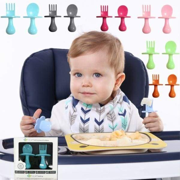 Baby fork spoon safe temperature induction spoon for baby feeding spoon and fork