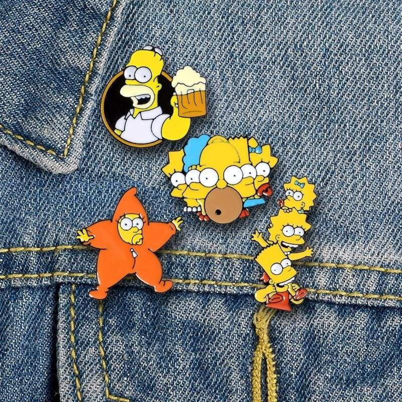 The Simpsons Enamel Pins Simpson TV Show Cartoon Brooch Funny Badge for Fans