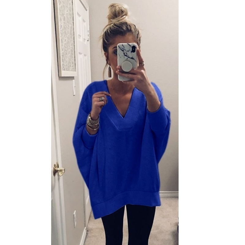 New Women's Fashion Pullover Sweaters Casual Plus Size S-3XL Fall Winter V Neck Loose Chunky Jumper Tops