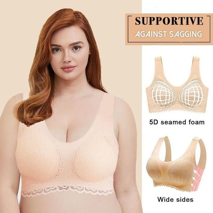 HERS WINGS - Wireless Push Up Comfort Shock-proof Latex Pad Lace Bra