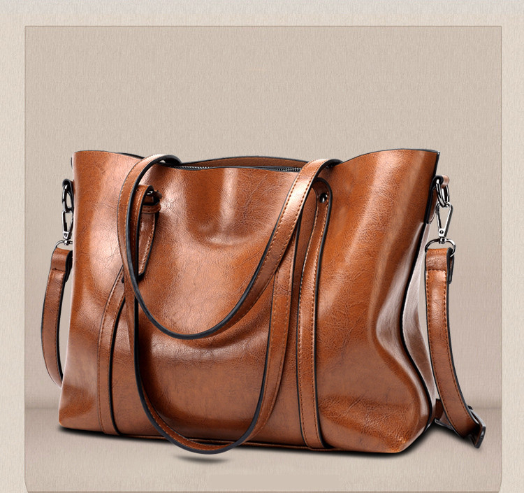 Large Brown Leather Handbag Tote, Leather Shoulder Bag
