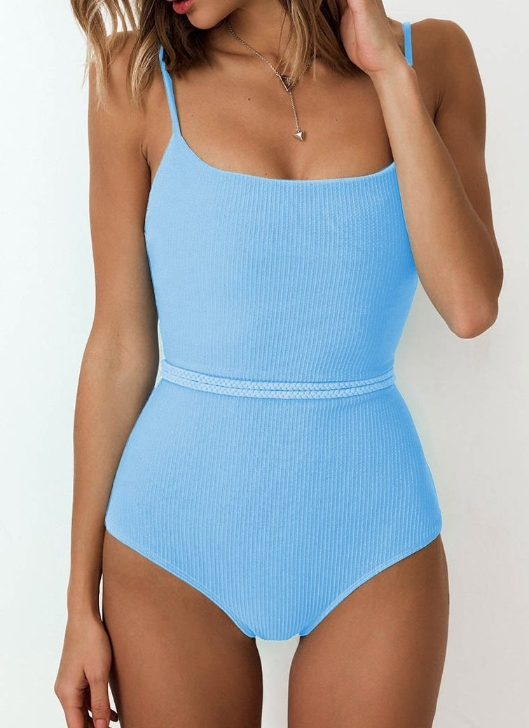 One-Piece Straps Simple Swimwear