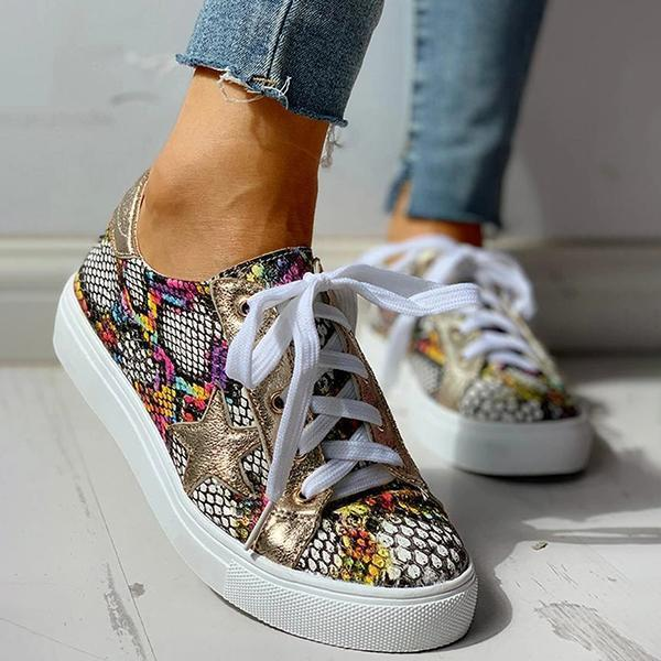 Faddishshoes Lace-Up Star Pattern Casual Sneakers