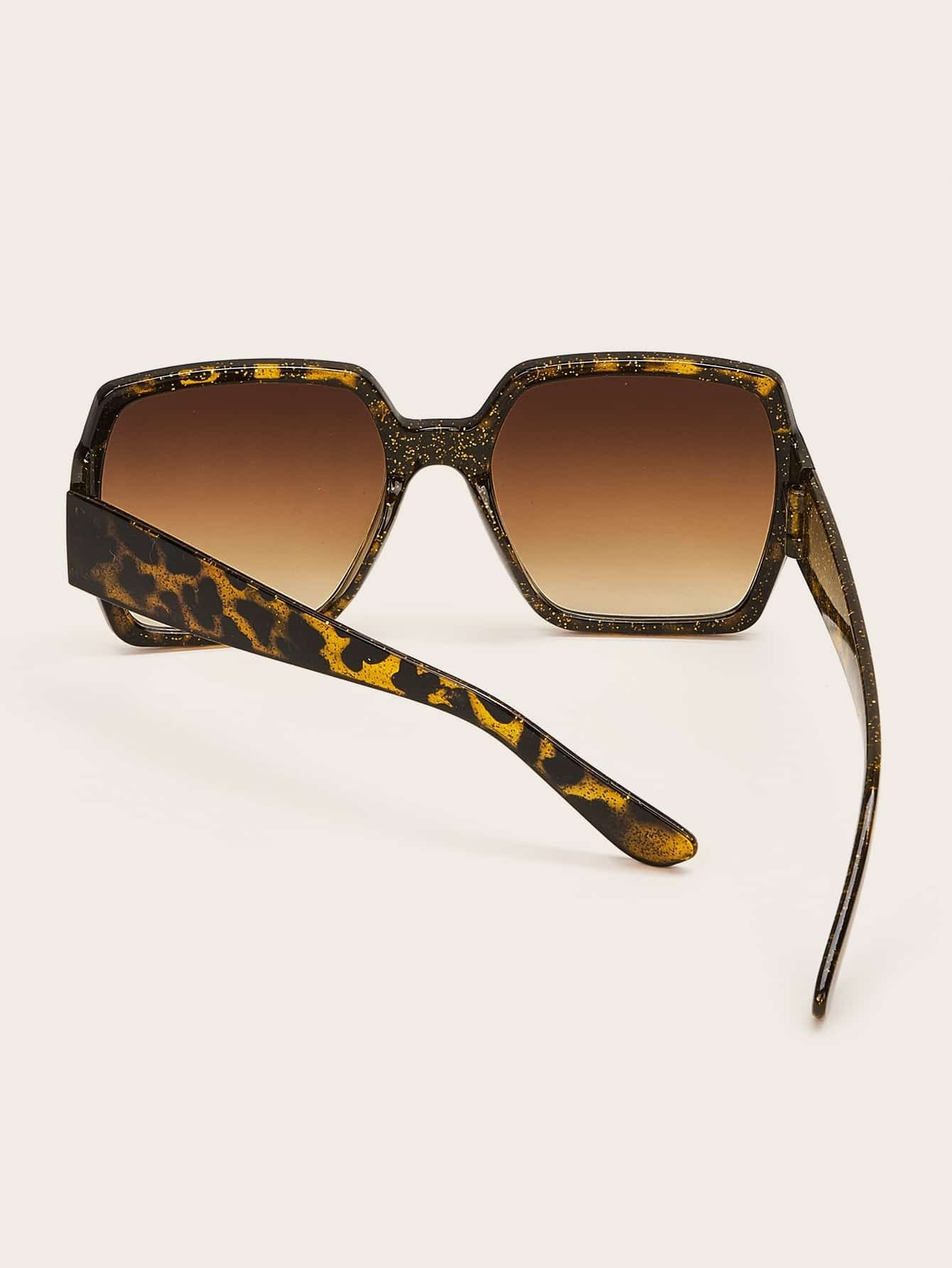 Tortoiseshell Square Frame Sunglasses With Case