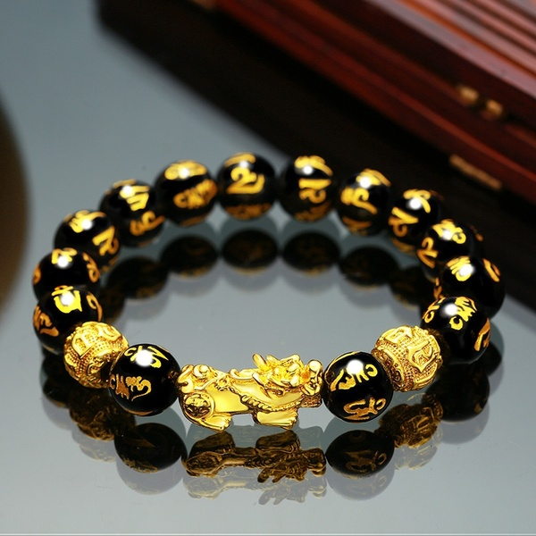 1Pcs Gold Luck Feng Shui Black Obsidian Alloy Wealth Pixiu  Beads Gold Bracelets Luck Charm  12mm