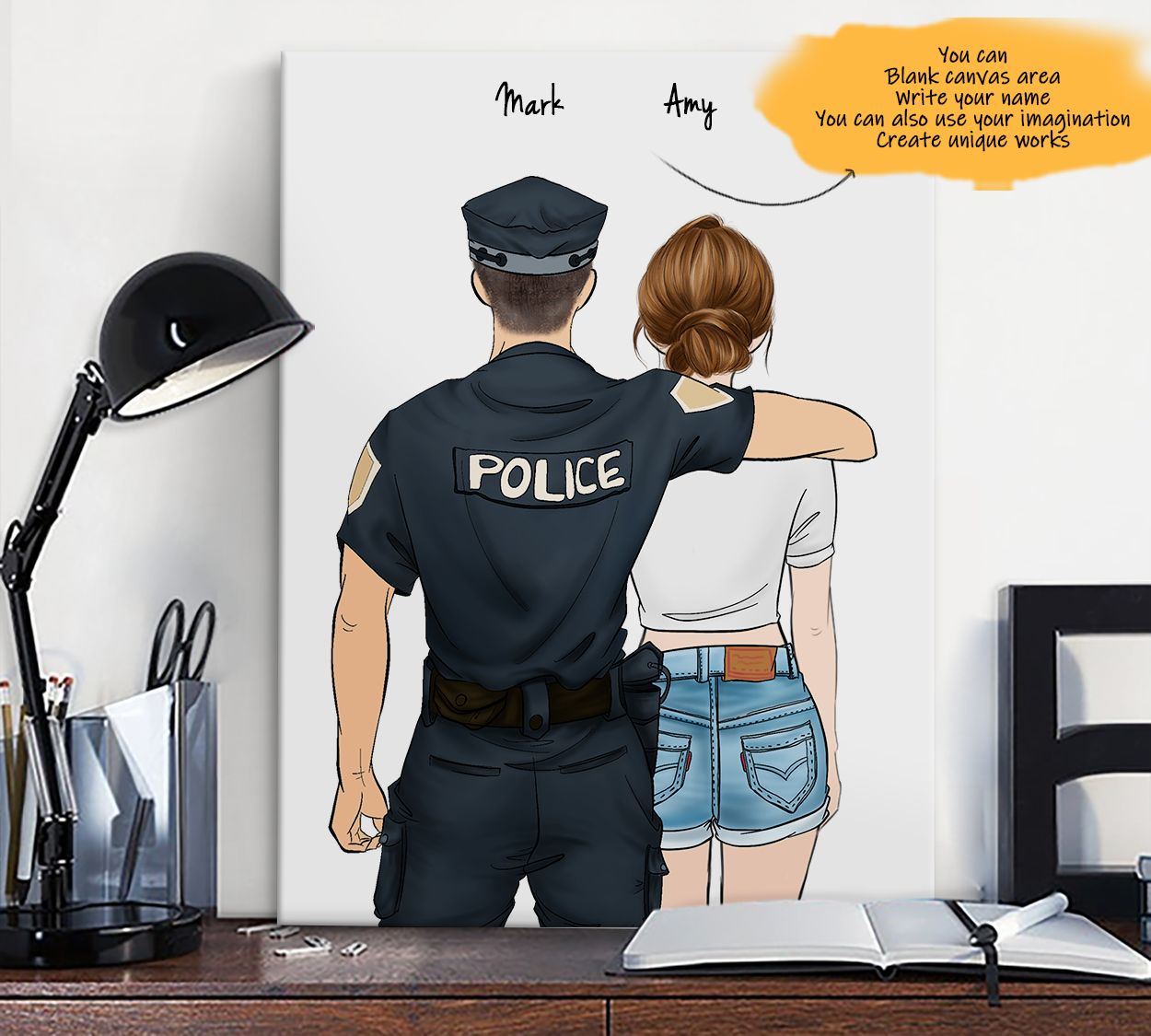 He is My Friend! Hand Draw Custom Canvas-Print Gift Police-Light&CowboyGirl