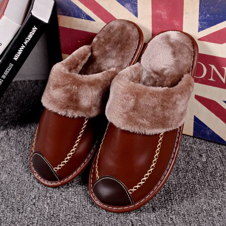 Home cotton slippers Indoor couple warm non-slip slippers Plush leather slippers