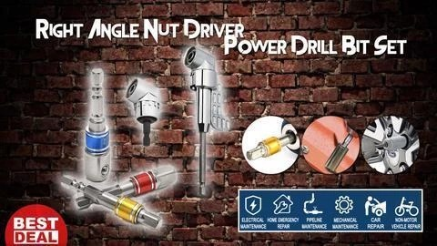 Right Angle Nut Driver Power Drill Bit Set