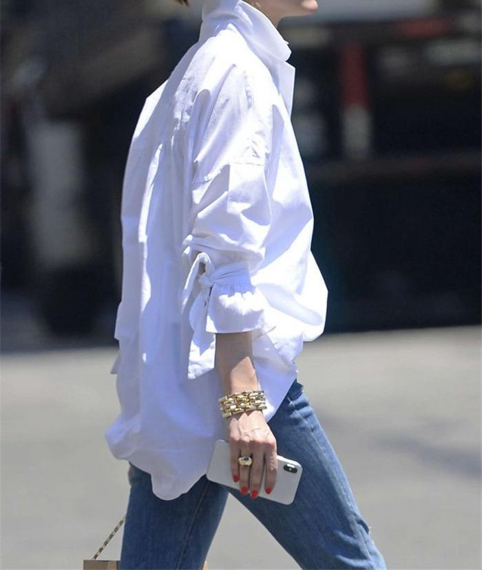 Women White Daily Casual Basic Blouse Tops