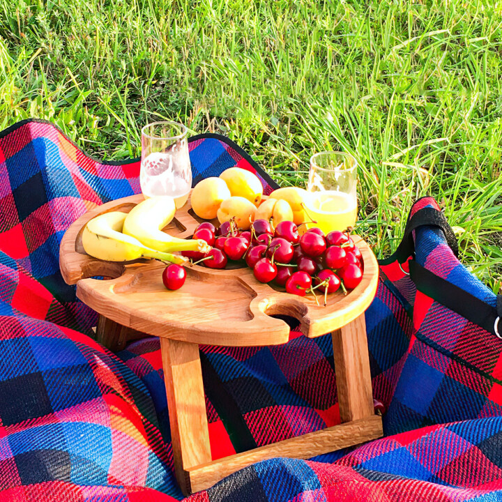 Wooden Folding Picnic Table(With Glass Holder)