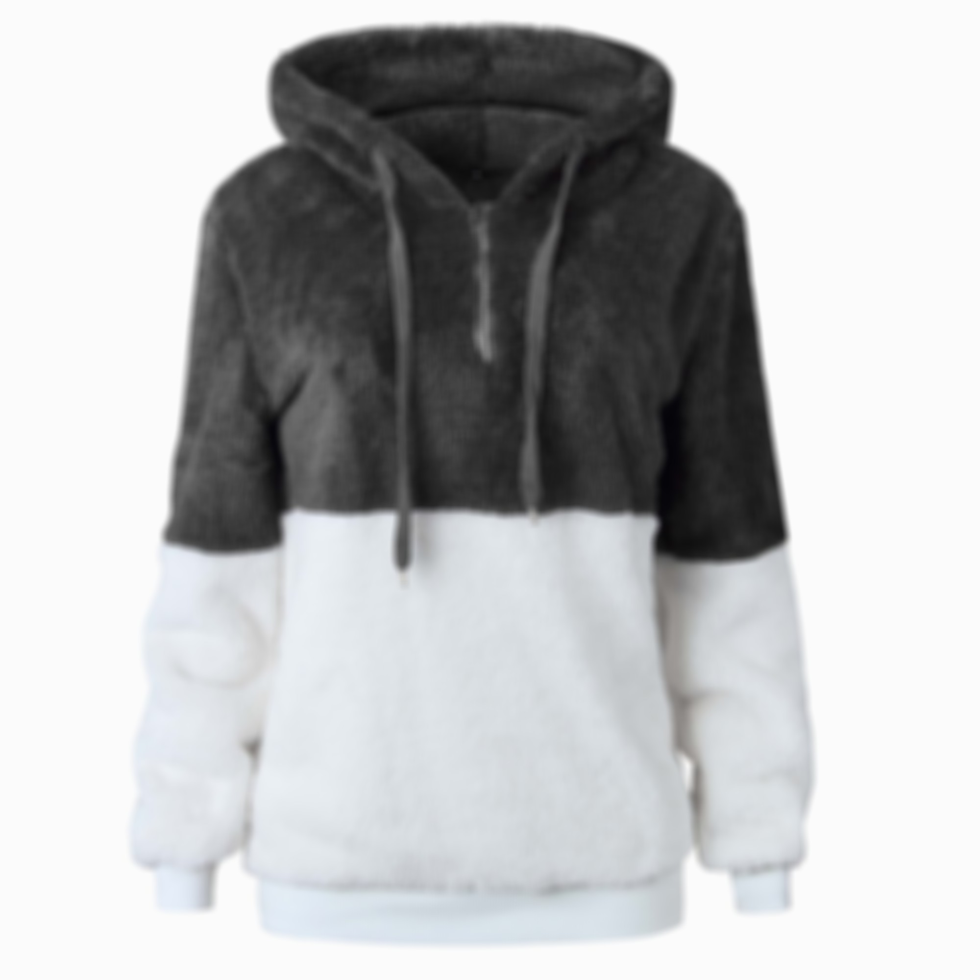Colorblock Drop Shoulder Fluffy Faux Shearling Hoodie
