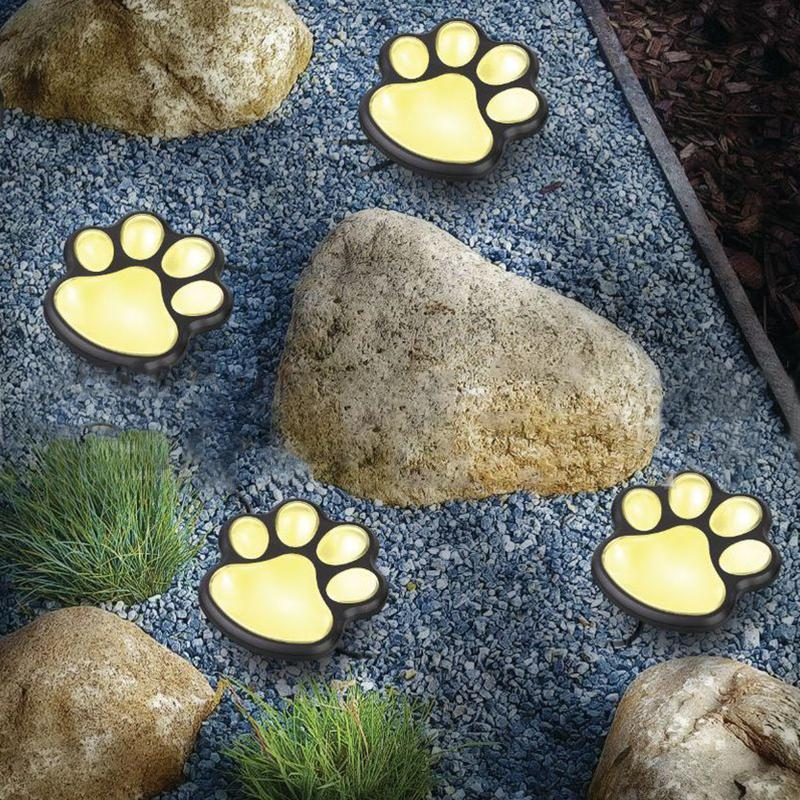 4 Pcs Solar-Powered Paw Print Lights