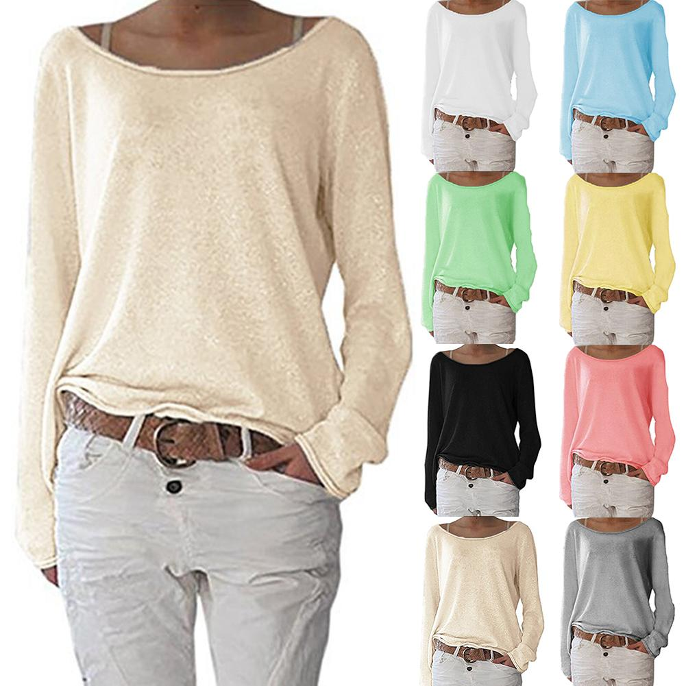 Solid Color  Casual  Long Sleeve  Knitted T-shirt Bottoming Top