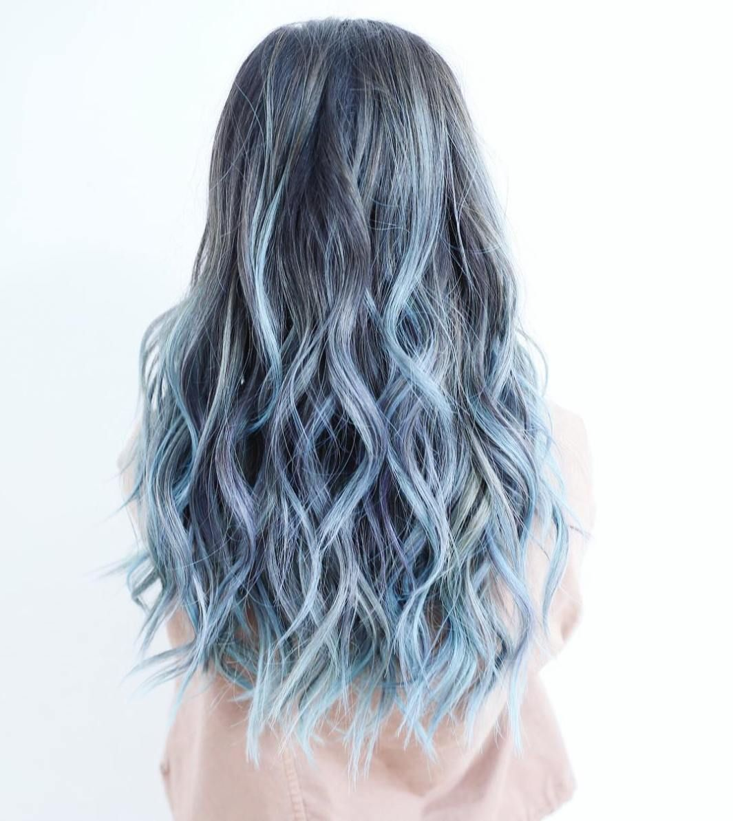 Blue Wigs Lace Frontal Wigs Cheap Human Wigs Ombre Teal Hair Pastel Blue Ombre Hair Blue Cosplay Wig