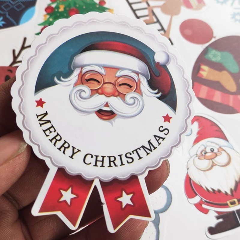 80/134Pcs Merry Christmas Gift Kraft Sticker Cookie Cake Gift Labels Stickers Kitchen Sweets Party Seal Sticker
