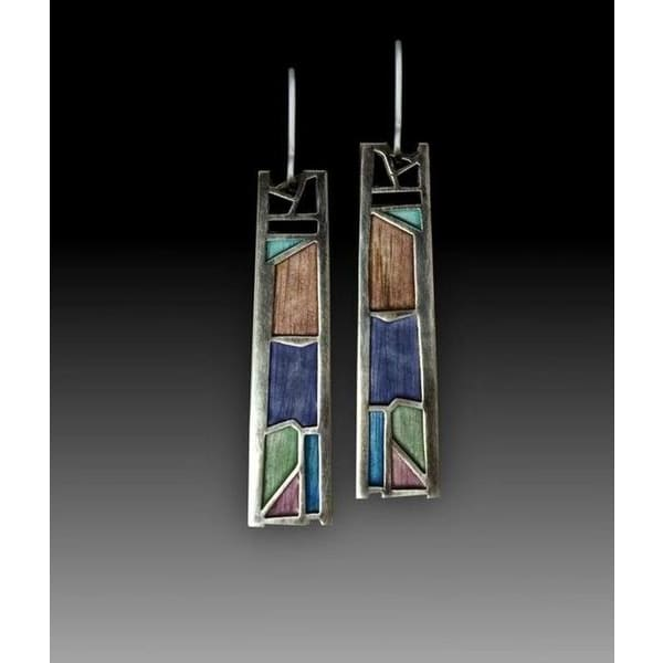 Vintage Women's 925 Sterling Silver One-of-a-Kind Peacock Multicolored - Fire Labradorite Earrings