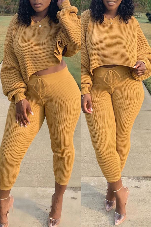 Solid Color Long Sleeve Drawstring Casual Set