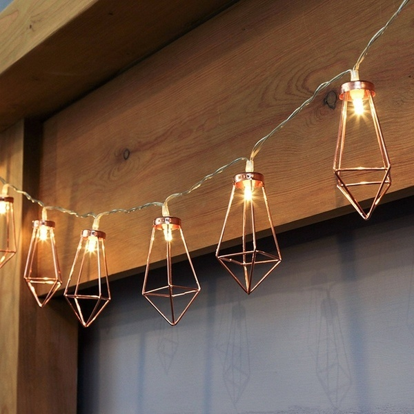 Rose Gold Geometric Led Fairy Lights, Battery Powered Boho Metal Led Lantern String Lights for Christmas Wedding Party Bedroom Decor
