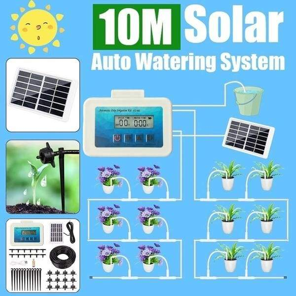 Solar Energy 2000mAh Intelligent Garden Automatic Self-Watering Device 10m Hose Potted Plant Drip Irrigation System Water Pump Timer