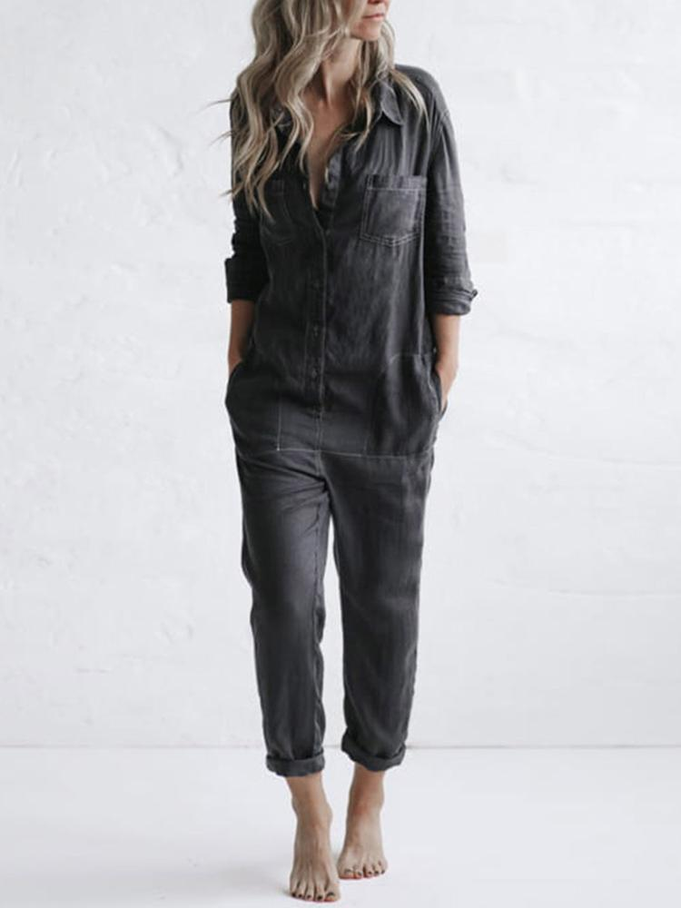 Women Loose Black Jeans Straight Jumpsuit