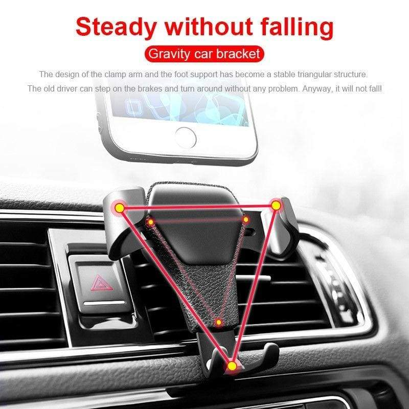 Car Phone Holder Car Air Vent Mount Stand No Magnetic Mobile Phone Holder Universal Gravity Smartphone Cell Support (Color:Black)