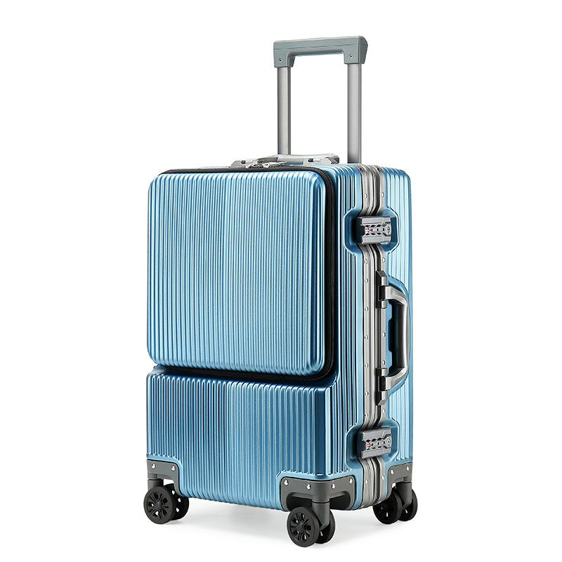 Business aluminum frame trolley case pc luggage wholesale suitcase set 36-55L roller bag-1.9