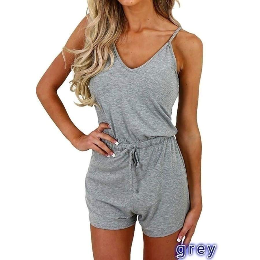 2019 Women Fashion Spaghetti Strap Jumpsuits Rompers Summer Casual Slim Fit Drawstring Waist One Piece Suits Sexy Sleeveless Bodycon Playsuit Outfits Set Ladies Short Rompers Bodysuits for Beachwear