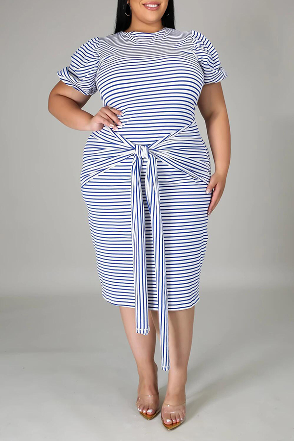 Striped Short-sleeved Tie Dress