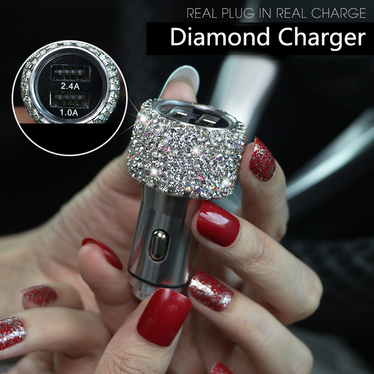 Crystal Diamond Dual USB Car Phone Charger(suitable for iPhone Samsung Huawei📲)