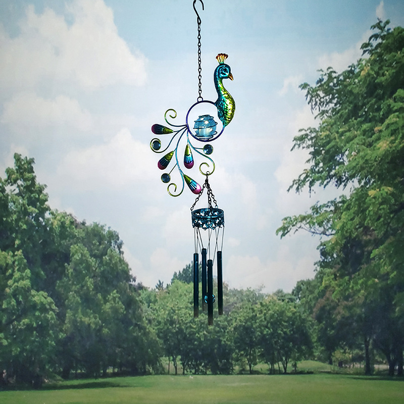 Peacock Solar Wind Chime Lamp Garden Light Decoration