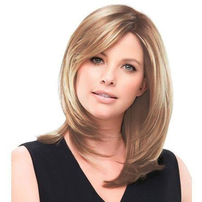 KAMI 098 Layered Shoulder Length Straight Synthetic Long Wigs for Women no Bangs Hair