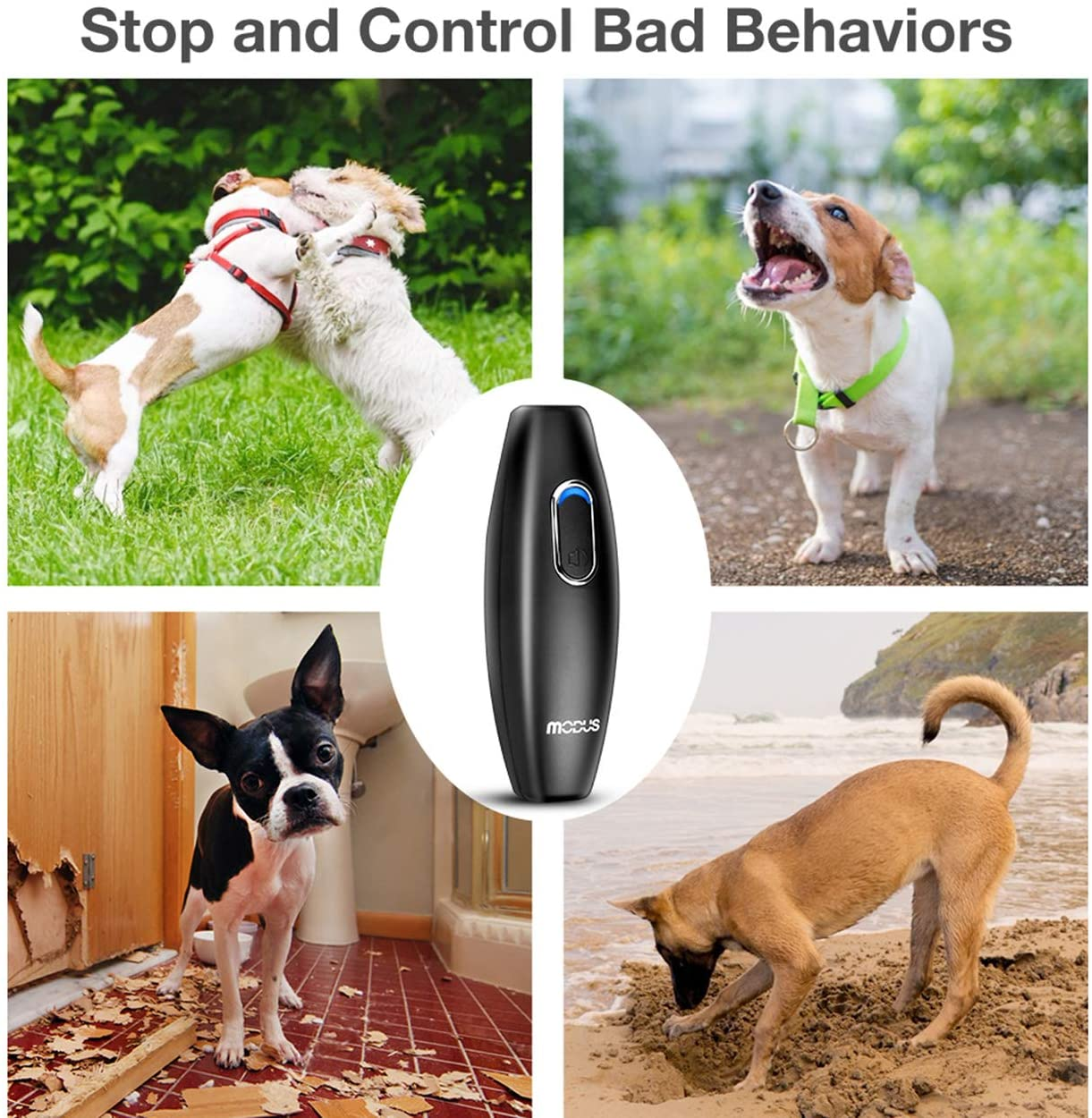 Bark Control Device - Ultrasonic Dog Bark Deterrent, 2 in 1 Dog Behavior Training Tool of 16.4 Ft Effective Control Range, Safe to use, with LED Indicator/Wrist Strap Outdoor Indoor