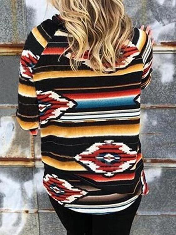 Multicolor Striped Cowl Neck Long Sleeve Cotton-Blend Shirts & Tops