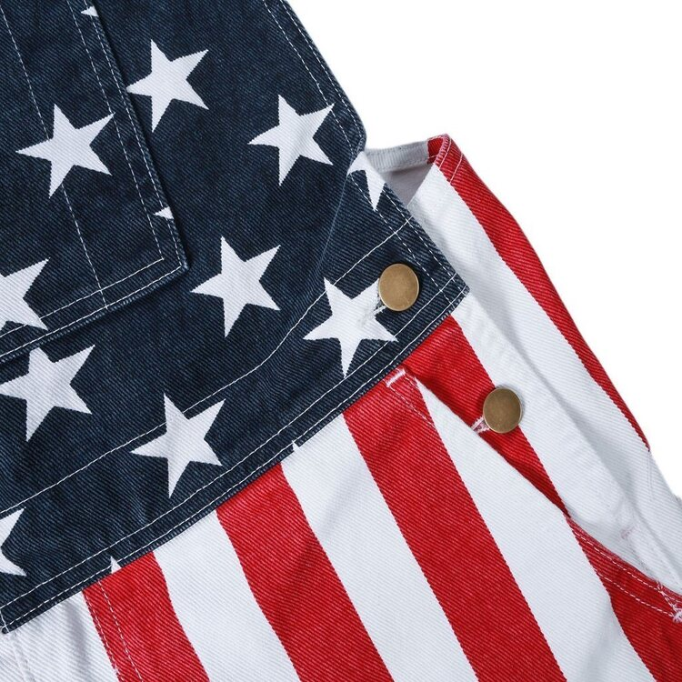 American flag overalls shorts