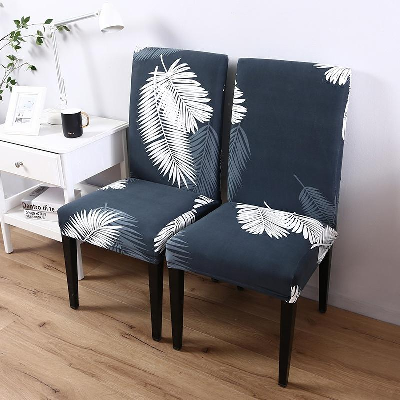 Home Living Tropical Rainforest Leaves Printed Chair Covers Elastic Seat Cover for Dining Room Office Banquet Wedding Chair Protector (2/4/6pcs Per Set)