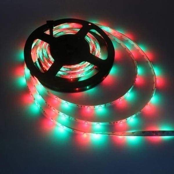 2M/3M/4M/5M/10M RGB LED Flexible Light Strip 60Leds/M SMD 2835 LEDs DC Light Strips LED Ribbon with Remote Control and Adapter for DIY Wedding Party Christmas Holiday Home Kitchen Car Bar Indoor Party Decoration