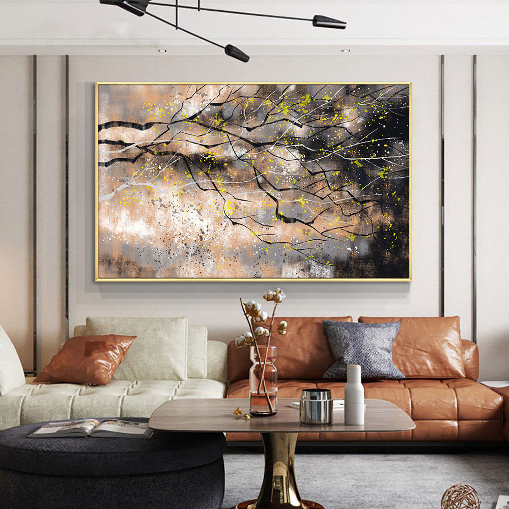 100% Hand Painted Oil Painting On Canvas Abstract Textured Black Trees Wall Art Landscape Paintings For Modern Home Decor