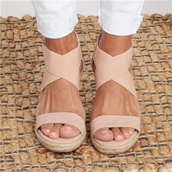 Zoeyootd Summer Round Toe High Heel Wedge Casual Ladies Sandals
