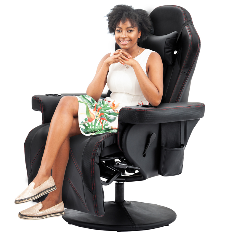 Buyonhome Reclining Gaming Chair/Adjustable Headrest and Lumbar Support Black