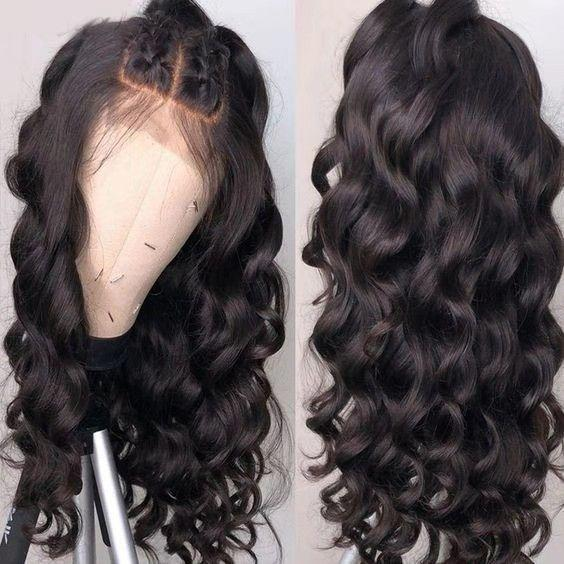 Human Hair Swiss Lace Wigs Dark Blue Wig