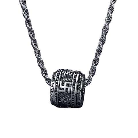 Silver Transit Bead Pendant Six-character Mantra Necklace