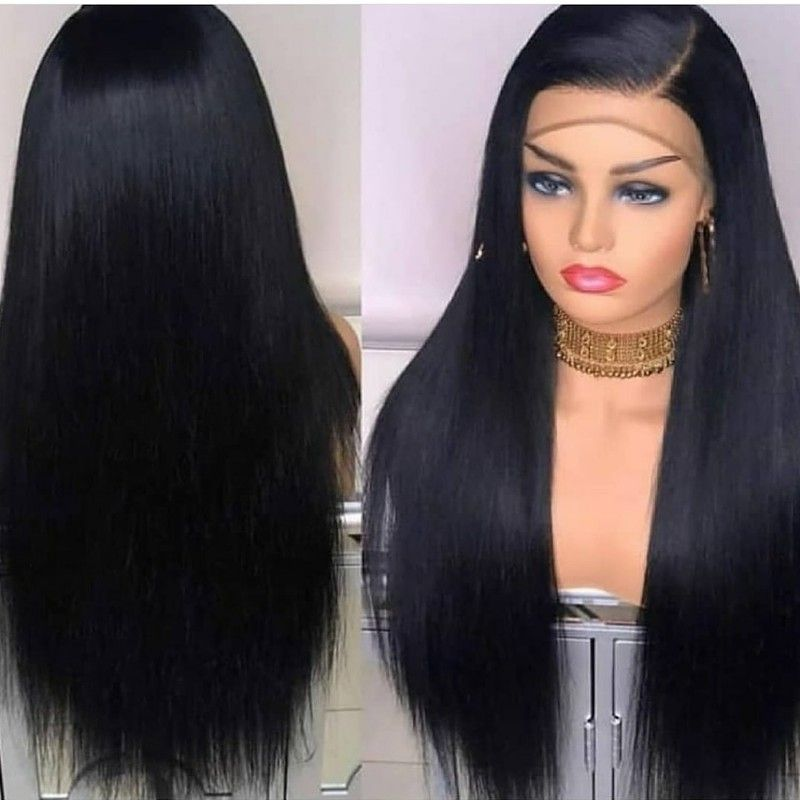 2020 New Straight Wigs Black Long Hair Straight Weave Ponytail Blonde Frontal With Dark Roots
