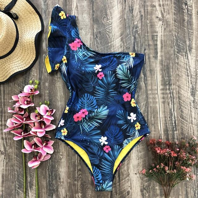 One Piece Swimsuit 2021 Sexy One Shoulder Bandage Swimsuit Women