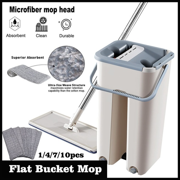 Flat Squeeze Mop Bucket Hand Free Wringing Stainless Steel Mop Self Wet And Dry Cleaning Microfiber Mop Floor Cleaning System