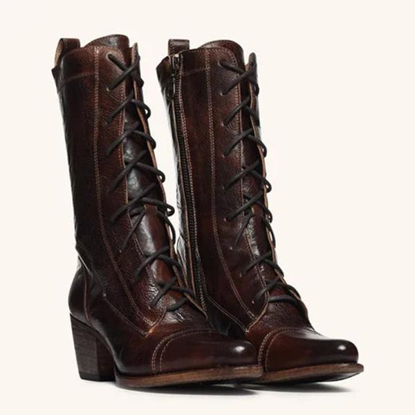 Faddishshoes Plus Size Viantage Leather Lace Up Chunky Heel Boots