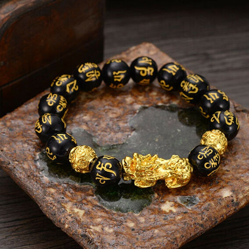 12mm Lucky Feng Shui Black Obsidian Alloy Wealth Bracelet with Chinese Golden Dragon Pixiu