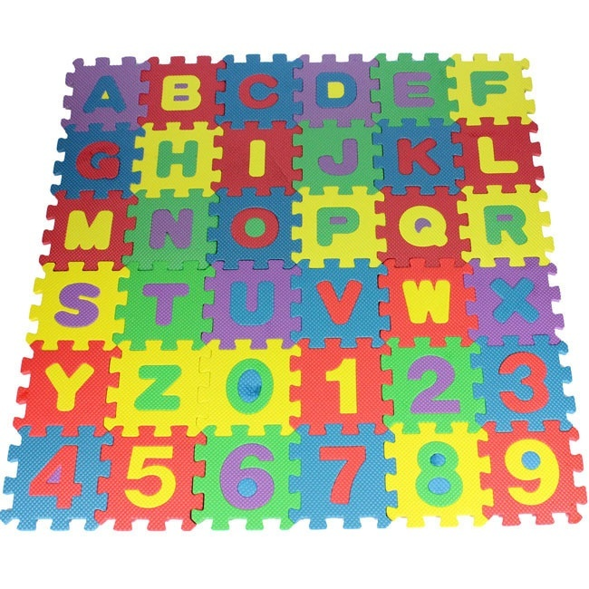 Smart Mom Baby Items Puzzle Play Mats 36 Pieces of Digital Letters Children's Puzzle Foam EVA Puzzle Pad Shatter-Resistant